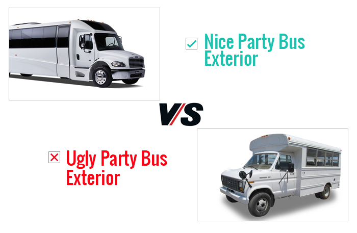 Nice Party Bus Exterior V/s Ugly Party Bus Exterior